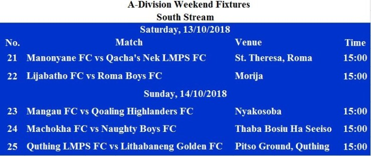 A DIVISION FIXTURES FOR 13 AND 14 OCTOBER, 2018 (3)