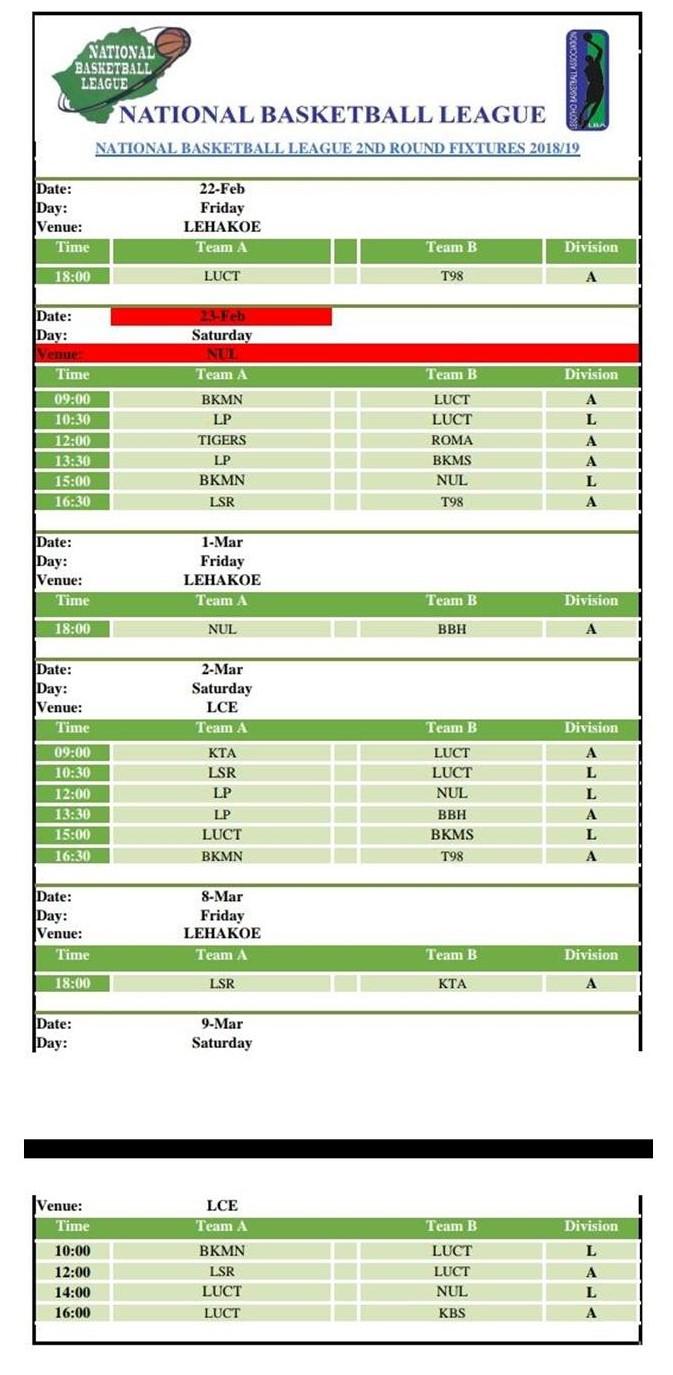 BASKETBALL FIXTURES (2)