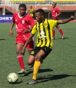 Hlompho Kalake of Bantu FC on the ball